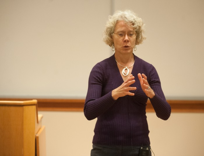 Meg Penrose, a professor at Texas A&M and Notre Dame law graduate, reflects on her experiences as a lawyer for people on death row at a lecture in Eck Hall of Law on Wednesday evening.