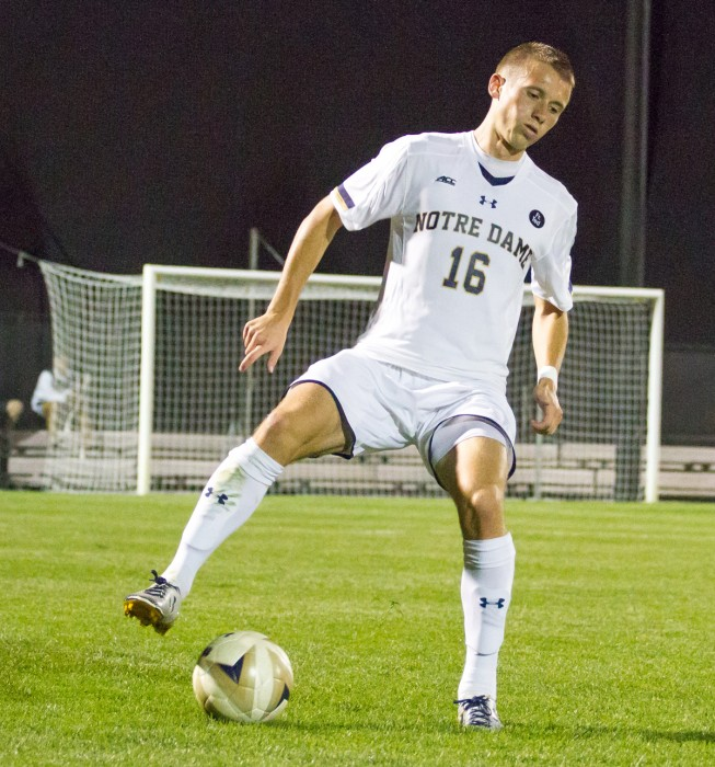 Senior defender Michael Shipp corrals the ball during Notre Dame's 3-1 victory over Virginia on Sept. 25 at Alumni Stadium.