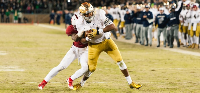 Irish sophomore quarterback DeShone Kizer scores the game-tying touchdown with 30 seconds left Saturday at Stanford Stadium. Notre Dame went ahead on the extra point but lost in regulation, 38-36.