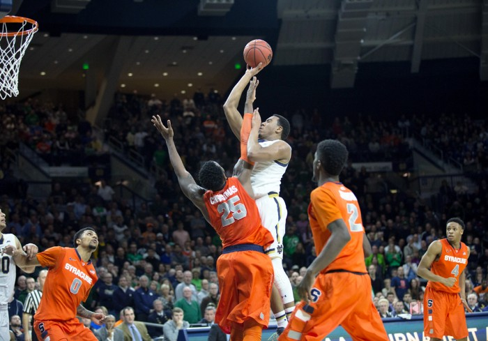 Sophomore forward Bonzie Colson goes over a defender for a shot    attempt in Notre Dame's 65-60 loss to Syracuse on Feb. 24.