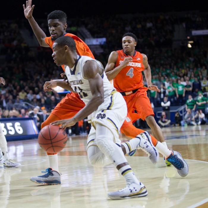 Irish junior guard Demetrius Jackson dribbles down the baseline during Notre Dame's 65-60 loss against Syracuse on Feb. 24.