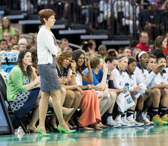 Irish head coach Muffet McGraw patrols the sideline during Notre Dame's 63-53 loss to Connecticut at Amalie Arena in Tampa on April 7. McGraw is now 700-221 in her career as head coach of the Irish.