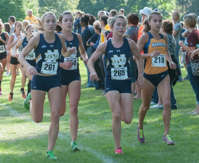 Irish senior Molly Seidel runs during her victory at the National Catholic Championships on Sept. 19, 2014, at Notre Dame Golf Course.