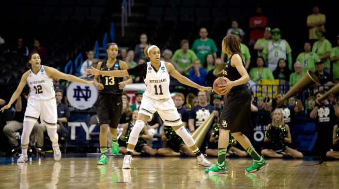 Sophomore forward Brianna Turner guards the lane Notre Dame's 77-68 victory over Baylor in the 2015 NCAA tournament. Turner scored 21 points in the Irish 85-54 win over Bucknell on Sunday.