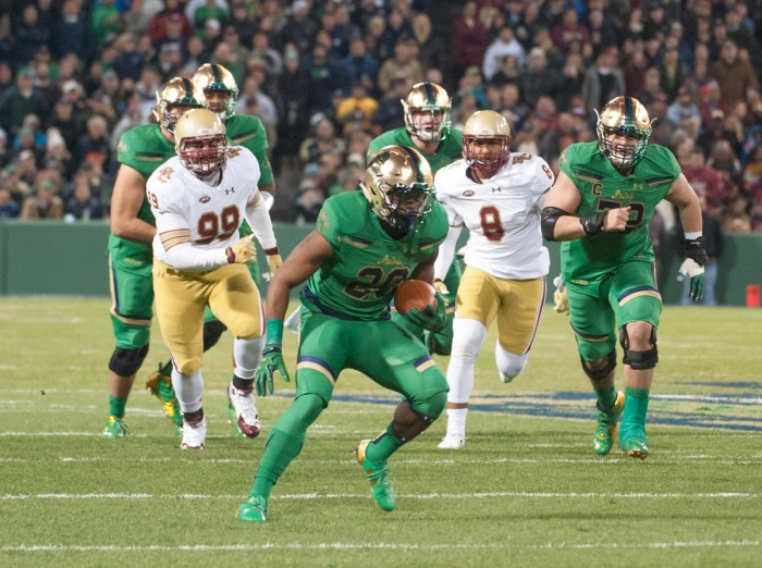 Irish senior running back C.J. Prosise looks to make a move in the open field during Notre Dame's win.