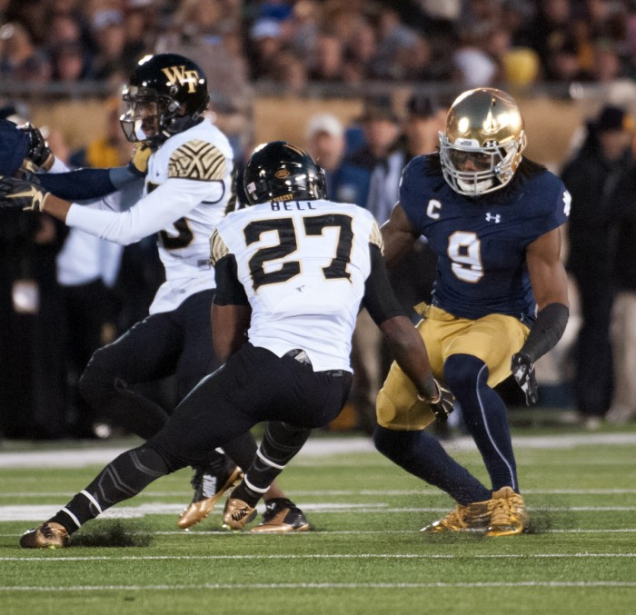 Irish junior linebacker Jaylon Smith lines up a tackle during Notre Dame's 28-7 win over Wake Forest on Nov. 14.