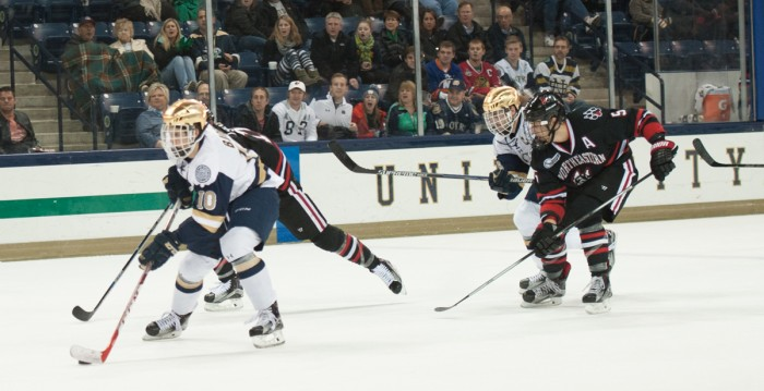 Irish sophomore left wing Anders Bjork carries the puck during Notre Dame's 3-2 win over Northeastern on Nov. 12 at Compton Family Ice Arena. Bjork has scored five goals and recorded 10 assists on the season.
