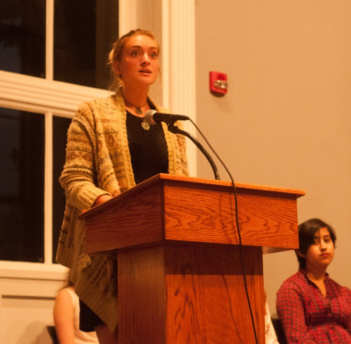 """Sophomore Neil Lewis speaks at """"In Our Own Words"""" in the  LaFortune Student Center Ballroom on Oct. 6."""