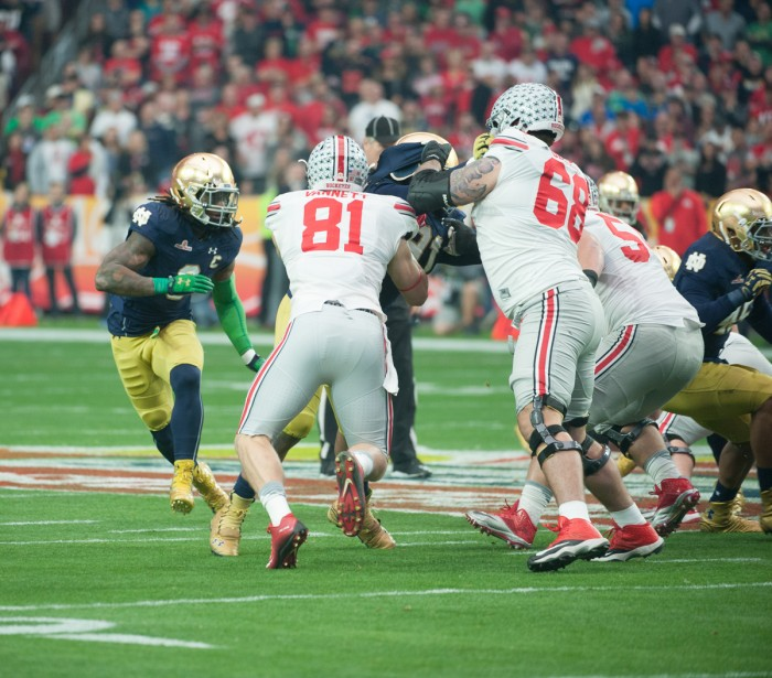 Junior linebacker Jaylon Smith tracks the ballcarrier during Notre Dame's 44-28 loss to Ohio State in the BattleFrog Fiesta Bowl.