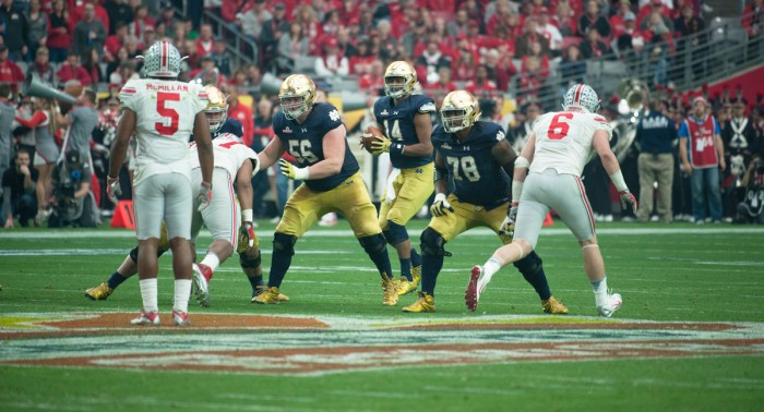 Senior offensive lineman Ronnie Stanley protects the quarterback during Notre Dame's 44-28 loss to Ohio State on Jan. 1 in the Fiesta Bowl.