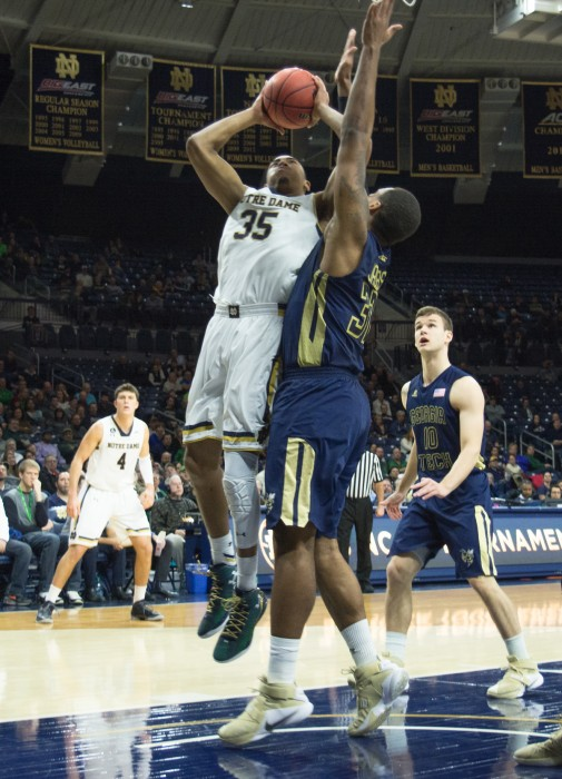 Sophomore forward Bonzie Colson goes up for a layup during Notre Dame's 72-64 victory over Georgia Tech on Wednesday at Purcell Pavilion. Colson scored a career-high 31 points on Saturday against Duke.