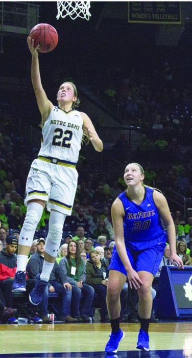 Irish graduate student guard Madison Cable shoots a layup during Notre Dame's 95-90 victory over DePaul on Dec. 9 at Purcell Pavilion.