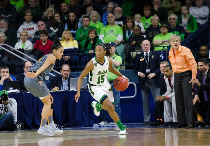 Irish junior guard Lindsay Allen surveys the court during Notre Dame's 79-66 win over Tennessee on Monday at Purcell Pavilion. Allen scored 10 points and had a team-high seven assists for the Irish.