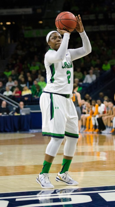 Irish freshman guard Arike Ogunbowale shoots a free throw during Notre Dame's 79-66 win over Tennessee on Monday at Purcell Pavilion.