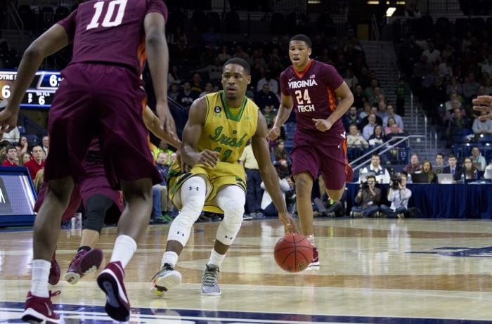 Former Irish guard Demetrius Jackson dribbles up the court during a 83-81 victory against Virginia Tech on Jan. 20. Jackson recently signed a rookie contract with the Boston Celtics.