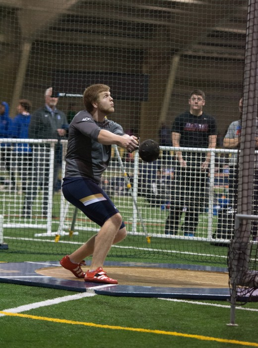 Junior Anthony Shrivers competes in the weight throw during the Meyo Invitational on Feb. 6, 2015 at Loftus Sports Center.