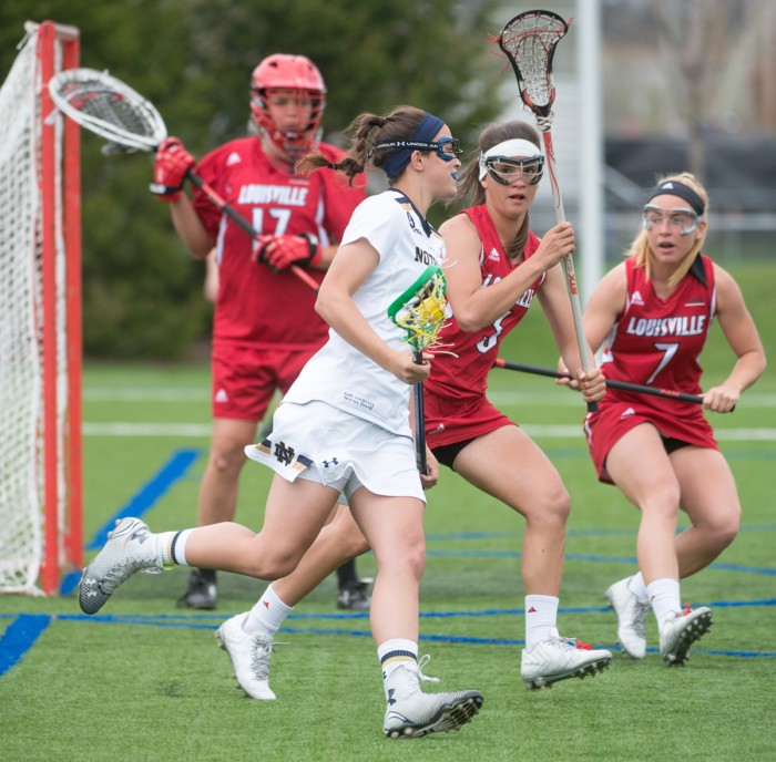 Senior attack Cortney Fortunato tries to get around a defender during Notre Dame's 10-8 loss to Louisville on April 19 at Arlotta Stadium. Fortunato had 56 goals in the 2015 season.