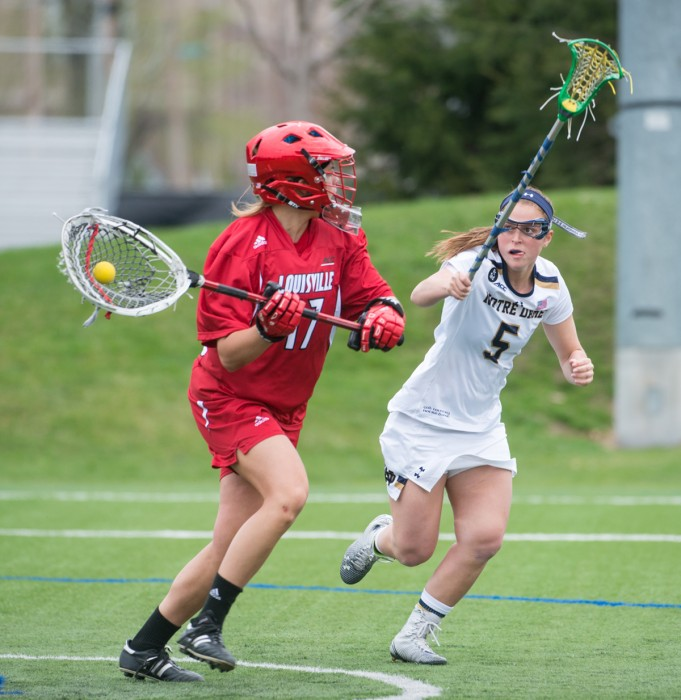 Senior attack Rachel Sexton pursues a player in possession during Notre Dame's 10-8 loss to Louisville on April 19 at Arlotta Stadium. Sexton totaled 37 goals in the 2015 season.