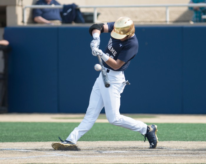 Junior second baseman Cavan Biggio connects for a single during Notre Dame's 4-2 loss to NC State at Eck Stadium on April 18, 2015. Biggio scored on an inside-the-park home run this weekend at Santa Clara.
