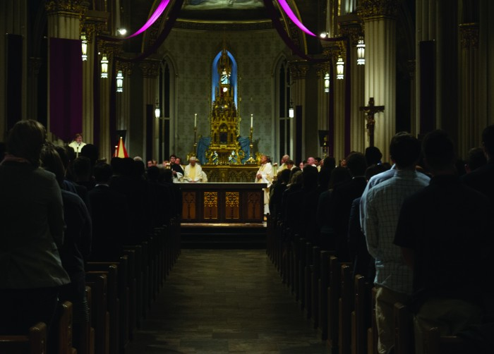 Students and other members of the Notre Dame community attended Mass at the Basilica of the Sacred Heart on Wednesday night in memory of junior Theresa Sagartz, who died last week.