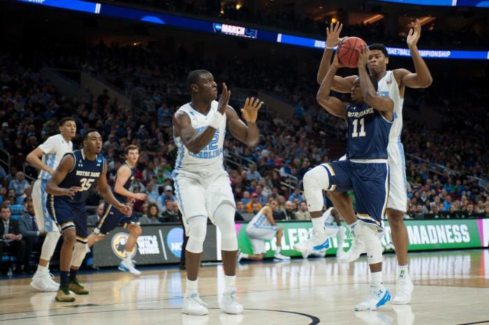 Irish junior guard Demetrius Jackson drives during Notre Dame's 88-74 loss to North Carolina on Sunday at Wells Fargo Center in Philadelphia.
