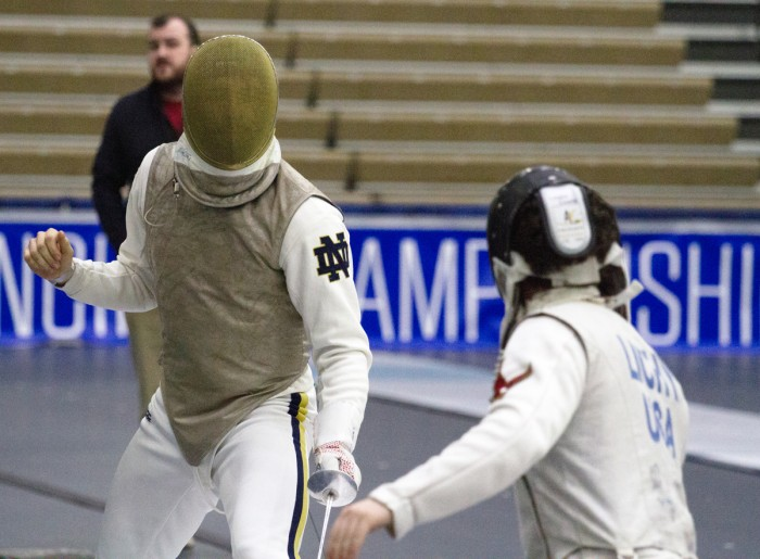 Irish freshman foilist Axel Kiefer competes at the ACC championships Feb. 28 at the Castellan Family Fencing Center. Kiefer finished in third place in the men's foil at the NCAA championships last weekend.