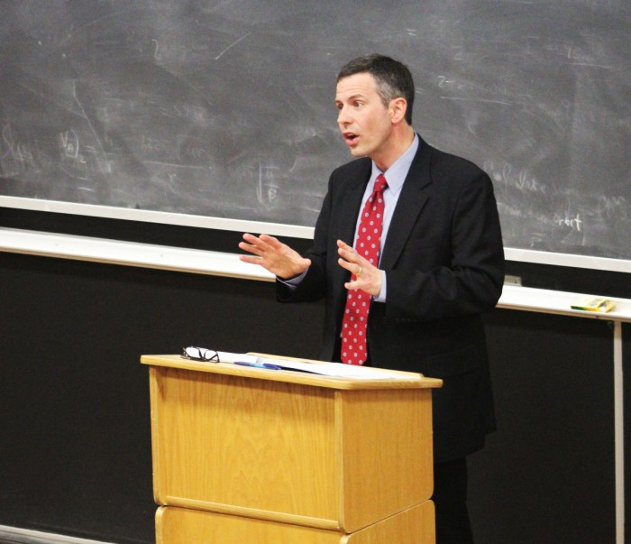 Anthony J. Bellia Jr., former clerk for Supreme Court Justice Antonin Scalia, explores the lingering implications of Scalia's death on future Supreme Court rulings  in a lecture Wednesday night.
