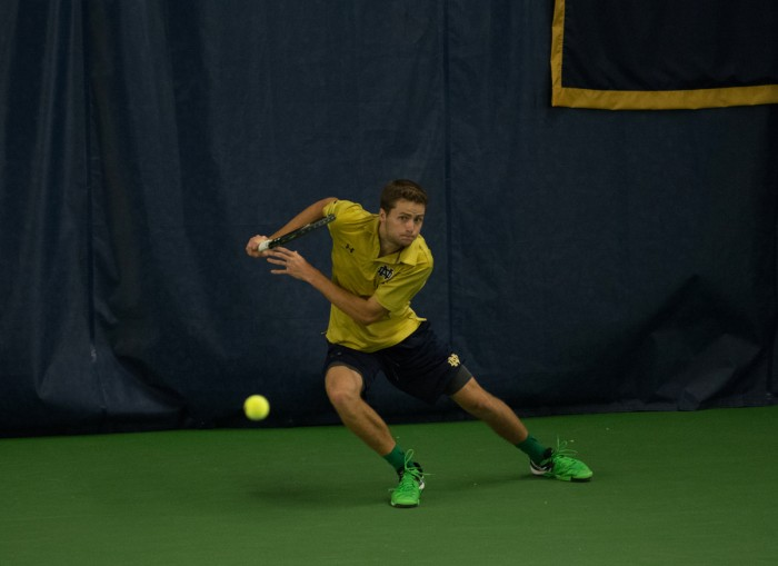 Irish senior Quentin Monaghan rushes to return a ball during Notre Dame's 5-2 victory over Duke on March 18 at Eck Tennis Pavilion.