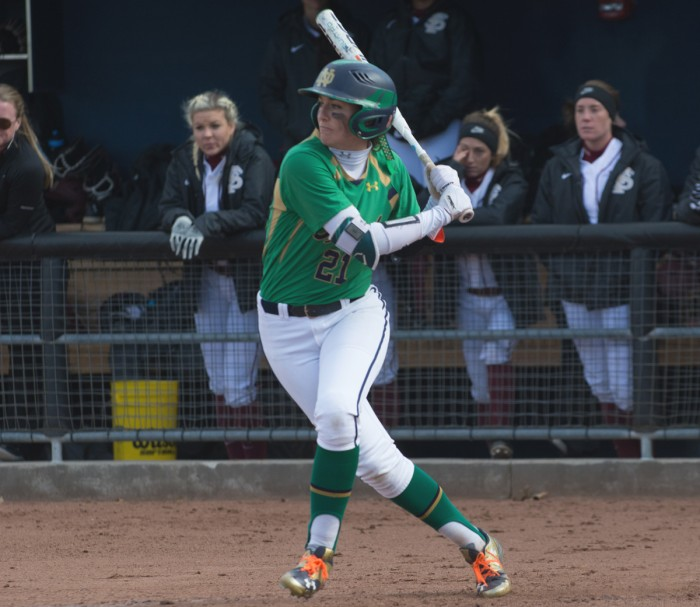 Junior center fielder Karley Wester takes a cut during Notre Dame's doubleheader against Florida State on Sunday. Notre Dame lost the first game 14-5 but won the second game 5-4.