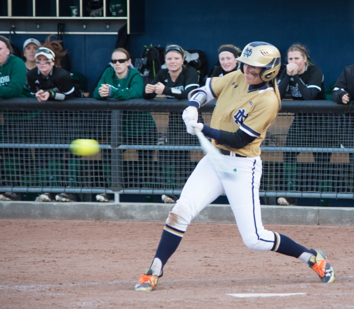 Irish junior center fielder Karley Wester swings at an approaching pitch during Notre Dame's 10-2 win over Eastern Michigan at Melissa Cook Stadium on March 22. She leads the team with 55 hits.