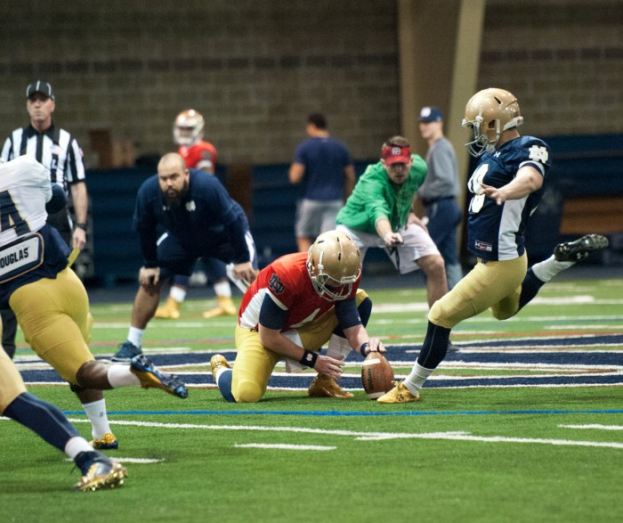 Irish sophomore kicker Justin Yoon attempts a field goal during Notre Dame's spring practice session Saturday at Loftus Sports Center.