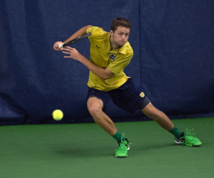 Irish senior Quentin Monaghan looks to recovera during Notre Dame's 5-2 victory over Duke on Feb. 28 at Eck Tennis Pavilion.