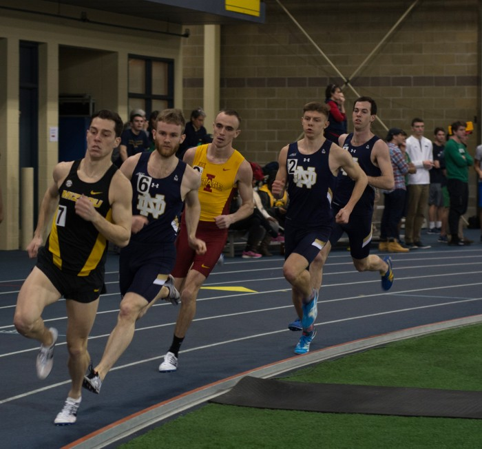 Irish junior Grant Koch, right, competes in the 800-meter run at the Alex Wilson Invitational at Loftus Sports Center on Feb. 20.