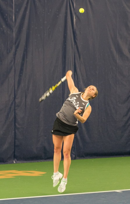 Irish junior Monica Robinson serves during Notre Dame's 6-1 win over Indiana on Feb. 20 at Eck Tennis Pavilion.