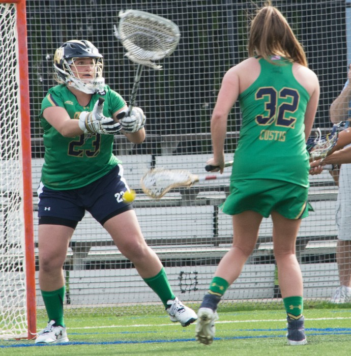 Irish freshman goalie Samantha Giacolone makes a save during Notre Dame's 5-4 loss against USC on April 18 at Arlotta Stadium.