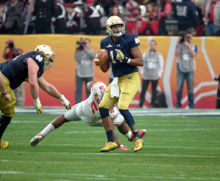 Irish sophomore quarterback DeShone Kizer surveys the field during Notre Dame's 44-28 loss to Ohio State in the Fiesta Bowl on Jan. 1.