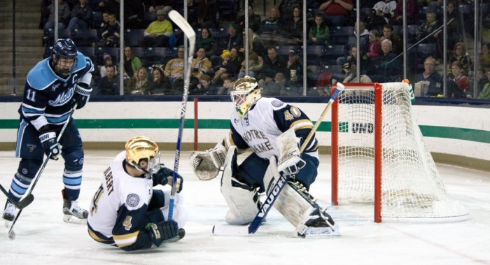 Irish sophomore goalie Cal Petersen looks through traffic during Notre Dame's 5-1 win over Maine on Feb. 13 at Compton Family Ice Arena. Petersen posted a .927 save percentage on the season.