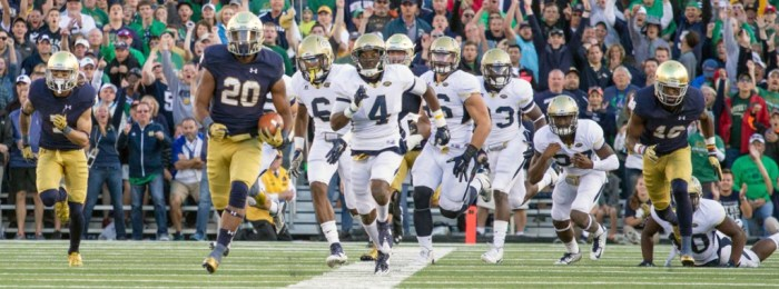 Irish senior running back C.J. Prosise sprints for a 91-yard touchdown run, leaving the Georgia Tech defense in his wake during Notre Dame's 30-22 victory on Sept. 19 at Notre Dame Stadium.