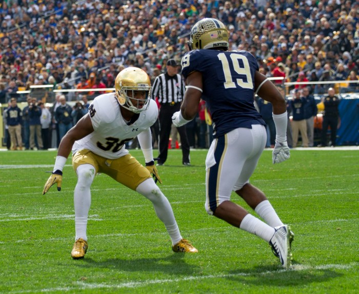 Irish senior cornerback Cole Luke defends a receiver during Notre Dame's 42-30 win over Pittsburgh at Heinz Field on Nov. 5. Luke enters the 2016 season as one of Notre Dame's most experienced defenders, with six career interceptions in 30 games played.