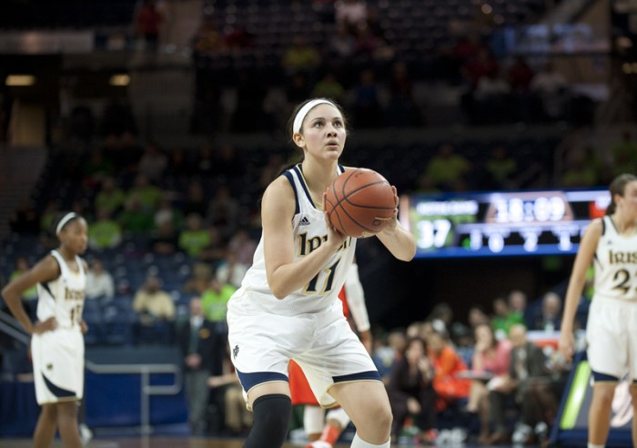 Former Irish forward Natalie Achonwa shoots a free throw during No. 2 Notre Dame's 79-52 victory over Miami at Purcell Pavilion on Jan. 23, 2014.