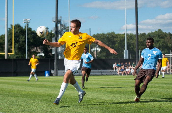 Junior defender Blake Townes plays the ball during Notre Dame's 1-1 tie versus Valparaiso at Alumni Stadium on Monday. The Irish closed out their preseason schedule with the stalemate.