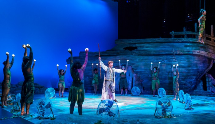 """Nick Sandys, who plays the magician Prospero in NDSF's production of """"The Tempest,"""" leads the cast in a scene during a performance. The show runs through Aug. 28 at the DeBartolo Performing Arts Center."""
