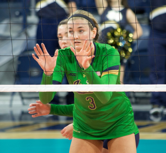 Irish junior middle blocker Sam Fry prepares for a serve during Notre Dame's 3-0 victory over Western Michigan at Purcell Pavilion on Saturday. Fry recorded 25 kills over the team's three matches.