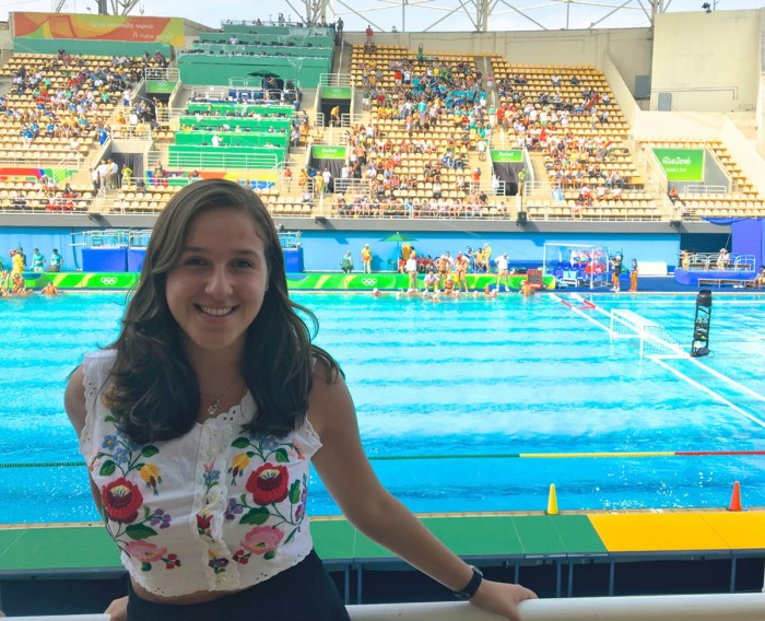 Senior Noemi Ventilla at the Olympic Aquatics Stadium before a water polo match during the 2016 Olympic Games.