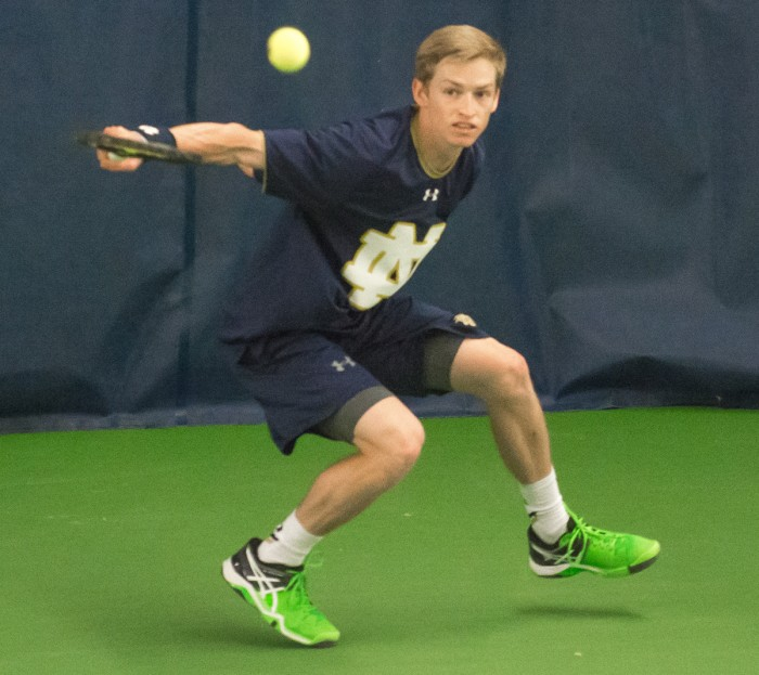 Irish senior Josh Hagar follows through on a return during Notre Dame's 5-2 win over Duke at Eck Tennis Pavilion on March 20.
