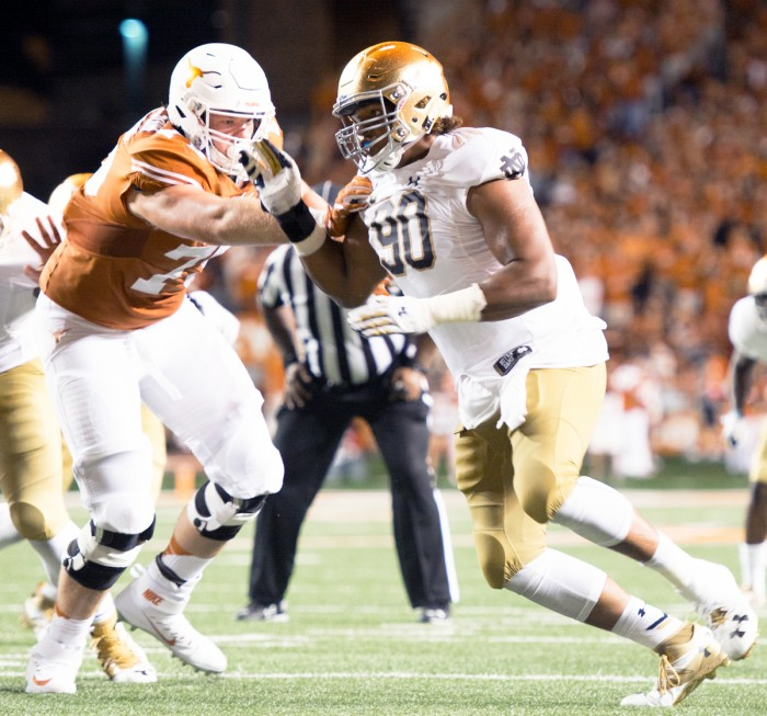 Notre Dame senior defensive lineman Isaac Rochell fights in the trenches during the 50-47 loss to Texas on Sunday.