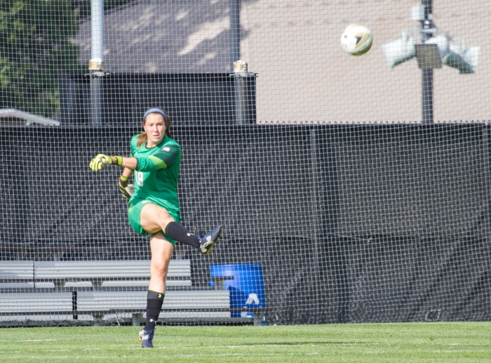Senior captain and goalie Kaela Little launches a goal kick on Sept. 4 against Mizzou at Alumni Stadium. The Irish won 1-0.