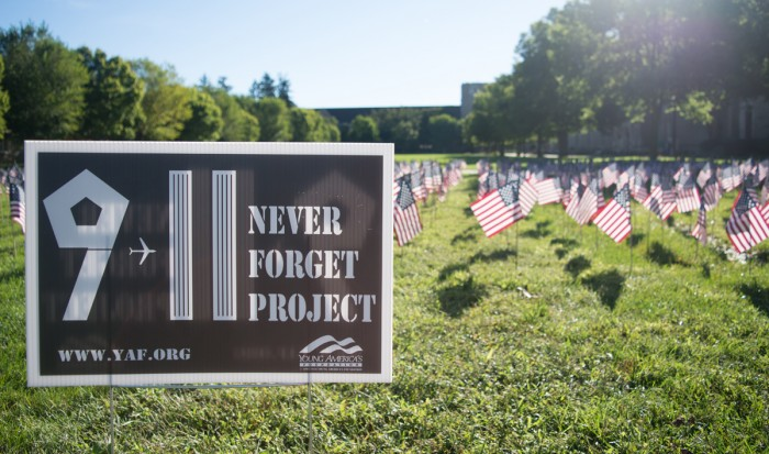 American flags were planted on South quad on Sunday, representing the 2,977 lives lost 15 years ago in the attacks on the World Trade Center in New York City, the Pentagon in Washington, D.C., and Flight 93.