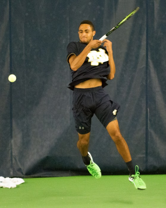 Sophomore Grayson Broadus returns a server in Notre Dame's 5-2 win over Duke on March 18 at Eck Tennis Pavilion.