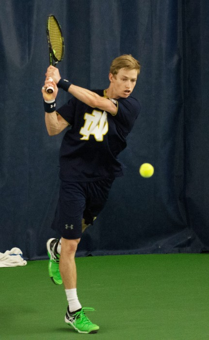Irish senior Josh Hagar returns a shot during Notre Dame's 5-2 victory over Duke on March 18 at Eck Tennis Pavilion. In the match, Hagar lost his singles match to sophomore Catalin Mateas 7-6 (6), 6-3.